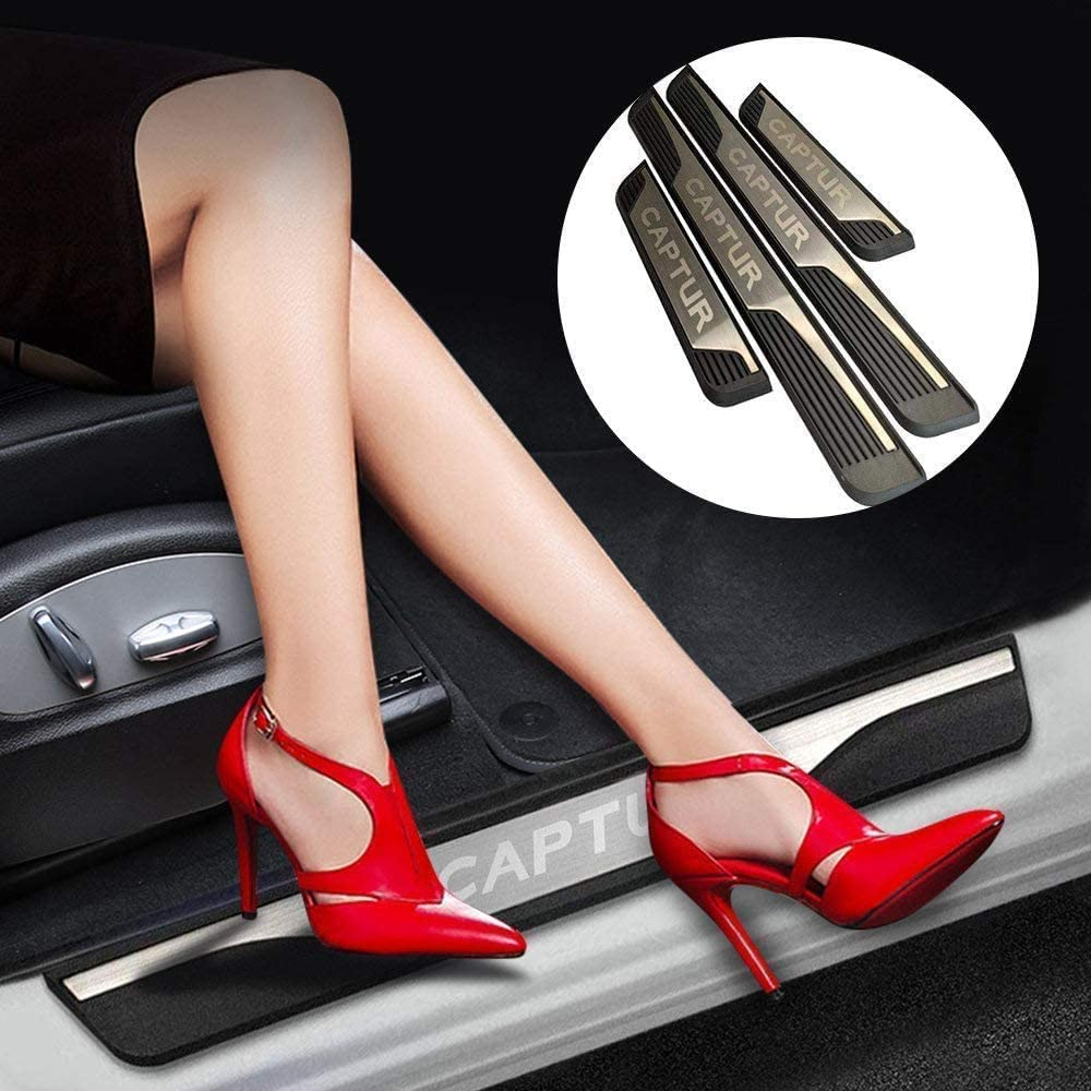 Lxzy 4Pcs Door sill Kick Plates Protectors for Renault Captur 2014-2020 Stainless steel Welcome Pedal Kick Plate Guard Pedal Trims Anti-Scratch Decoration Accessories