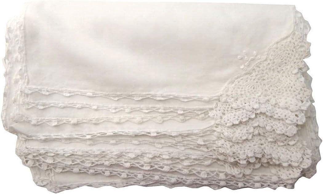 White Crocheted Handkerchief.