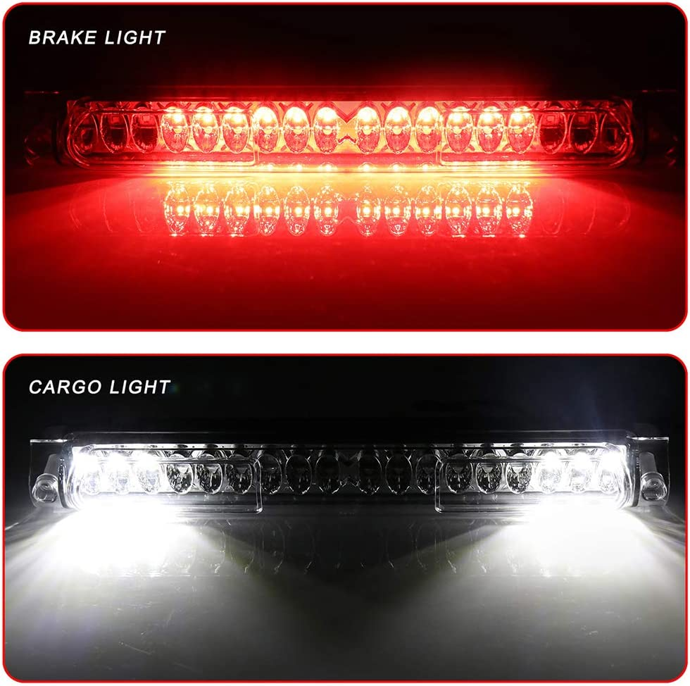 Third Brake Light LED 3rd Brake Light Rear Tail Cargo Lamp Clear Lens Chrome Housing Replacement fit for 1997-2003 Ford F-150 2004 Ford F-150 Heritage 1998-1999 Ford F250 2002 Lincoln Blackwood