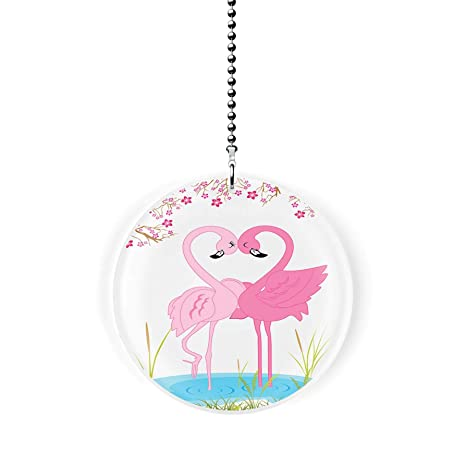 Beachy Pink Flamingo Lounging in Beach Chair Ceiling Fan Light Dimensional Pull