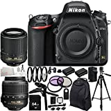 Nikon D750 DSLR Camera - International Version (No Warranty) with AF-S DX NIKKOR 18-55mm f/3.5-5.6G VR Lens & AF-S DX NIKKOR 55-200mm f/4-5.6G ED VR II Lens 34PC Accessory Kit. Includes 64GB Memory Card + 2 Replacement EN-EL15 Batteries + AC/DC Rapid Home & Travel Charger + MORE