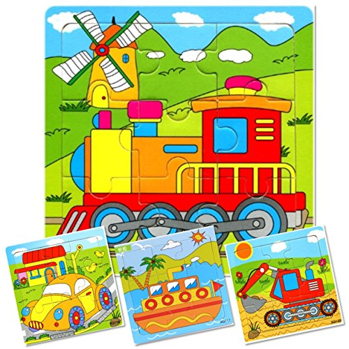 - Set of 4: 9 Piece Wooden Transport Vehicles Puzzles. Kids Colorful Educational Jigsaws include Train, Tractor, Car and Ship. For toddlers and preschoolers over 3 years, by INTELLITOYZ