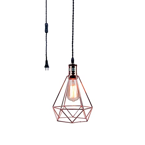Pauwer Industrial Wire Cage Pendant Light Plug In Vintage Pendant Light  With On/off Switch