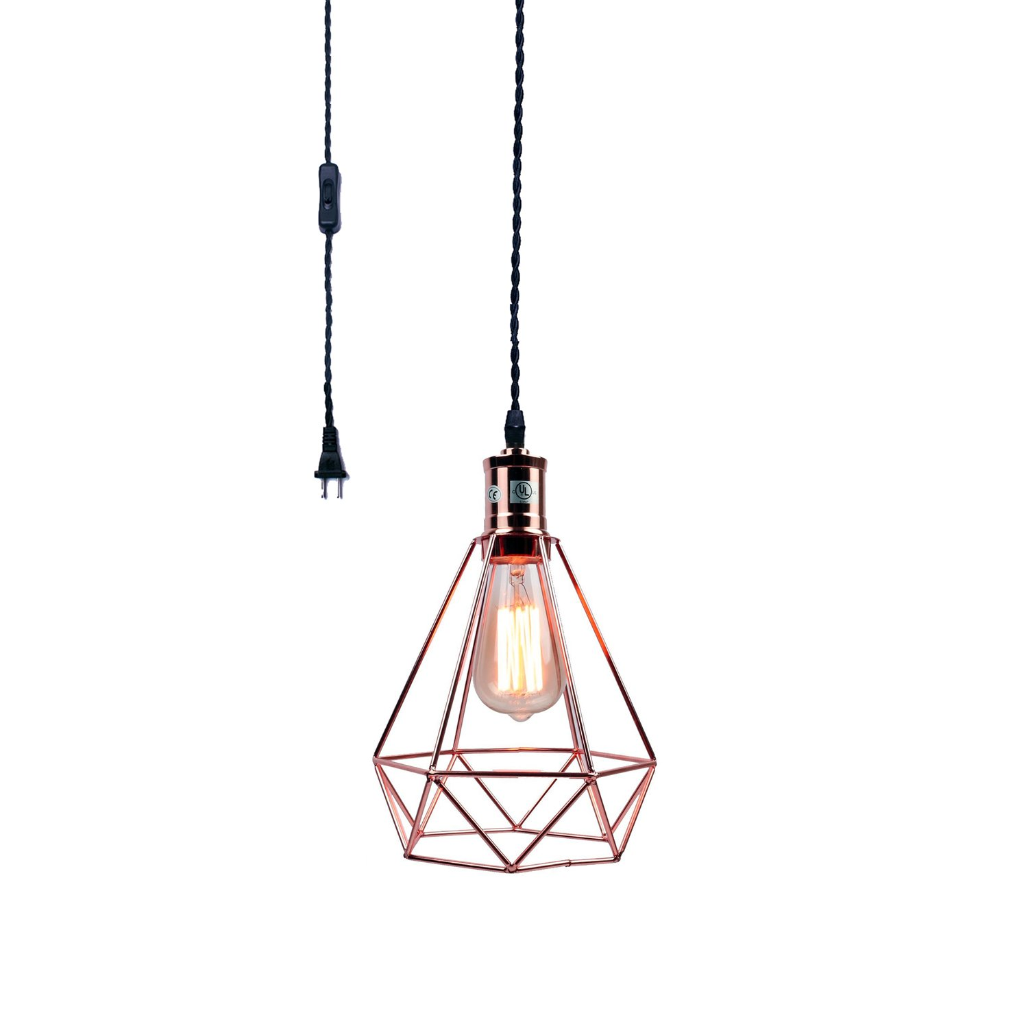 Pauwer Industrial Wire Cage Pendant Light Plug in Vintage Pendant Light with On/Off Switch (Rose Gold)