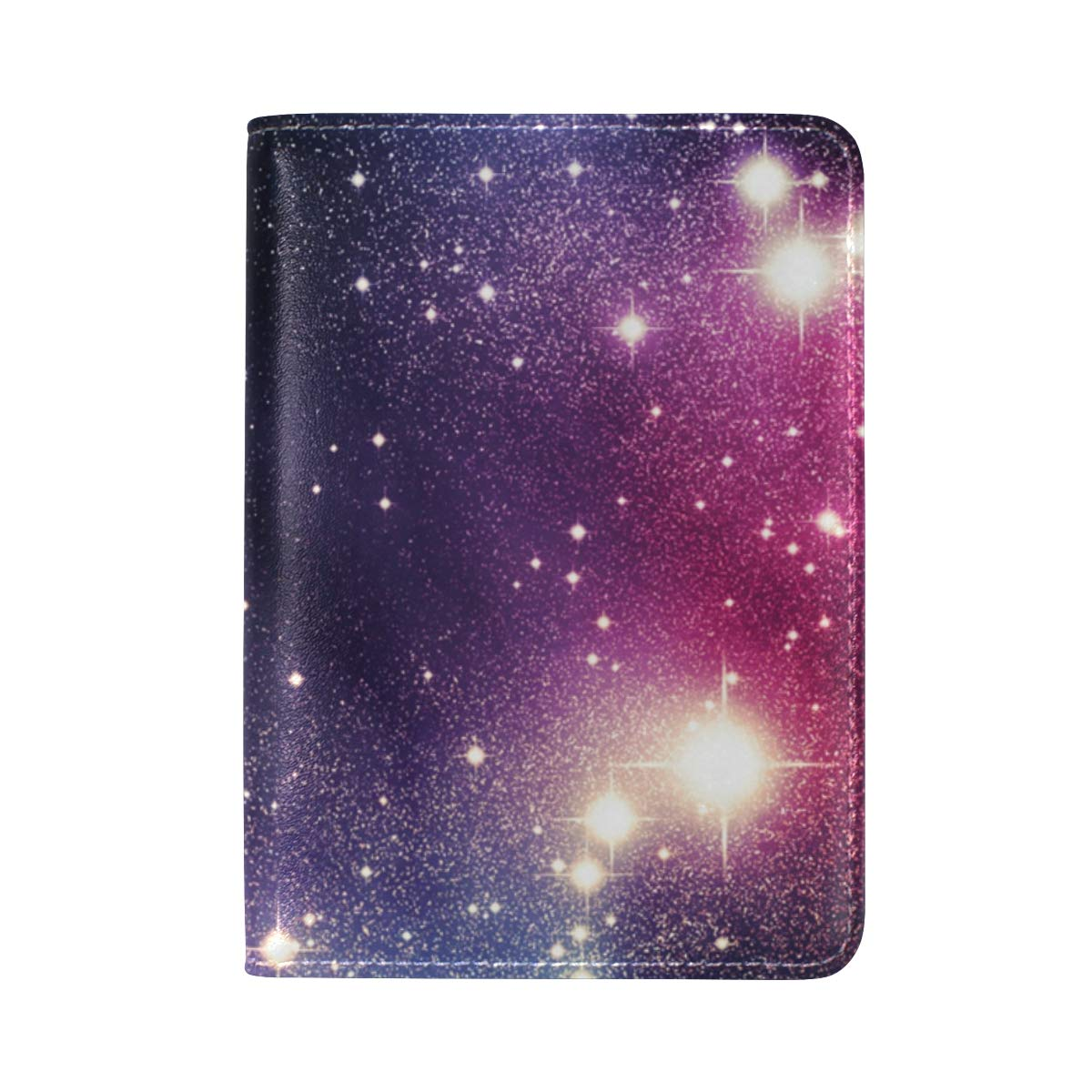 Starry Night Sky Colorful Universe One Pocket Leather Passport Holder Cover Case Protector for Men Women Travel