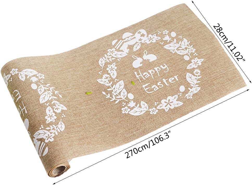 Shefii Easter Decoration Linen Rabbit Egg Printed Table Runner Tablecloth Placemat Home