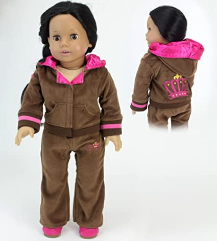 Amazon Com Brown Velour Sweatsuit Fits 18 Inch American Girl Dolls