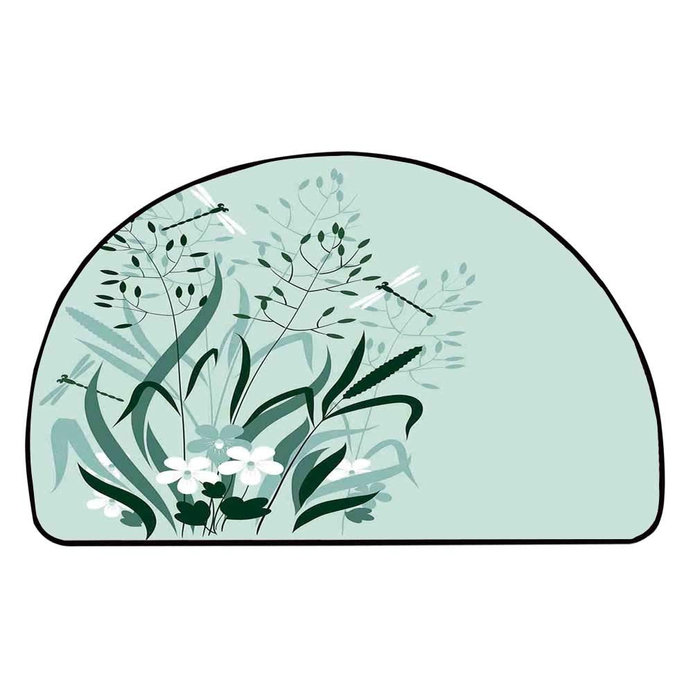 C COABALLA Dragonfly Comfortable Semicircle Mat,Wild Grass and Dragonflies in Exquisitely Growing Lawn Herb Bush Rural Pattern for Living Room,11.8'' H x 23.6'' L
