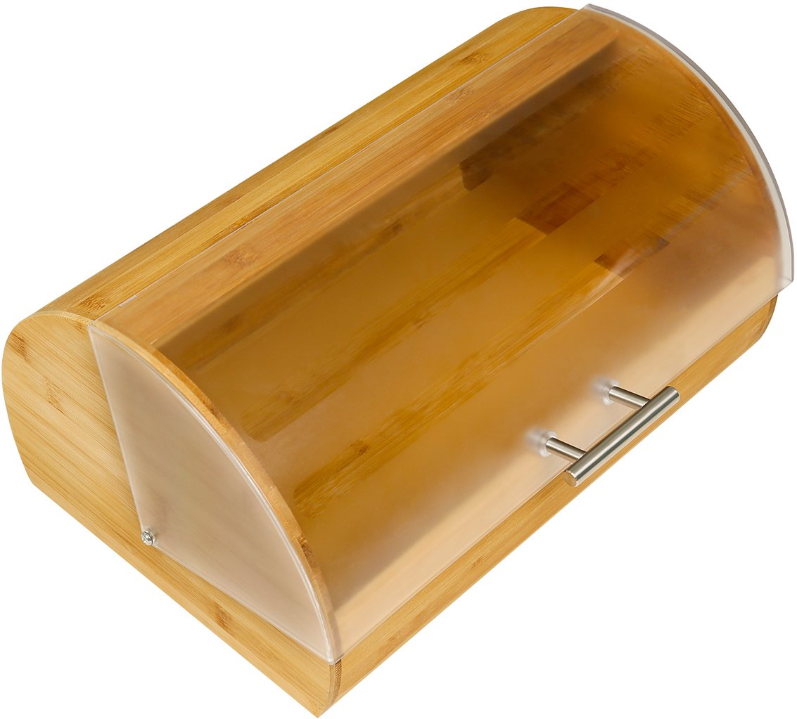 bambusbrotkasten mit durchsichtigem rolldeckel