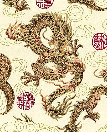 Fire-Breathing Dragons: Beige/Gold Metallic Asian Japanes...