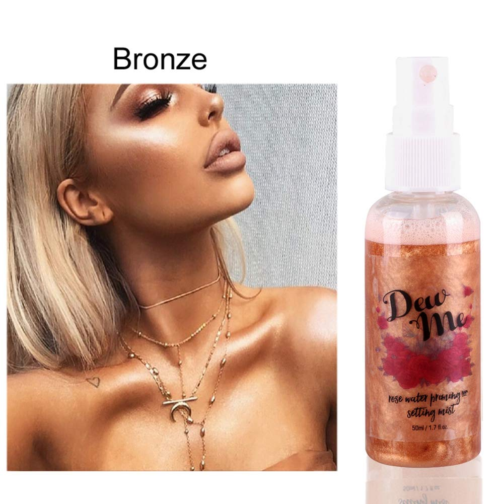 Huoju Hydrating Pearlescent Spray High-gloss Spray 5 Choice- Platinum/ 24KGold/RoseGold/Bronze/Celestial (Platinum)