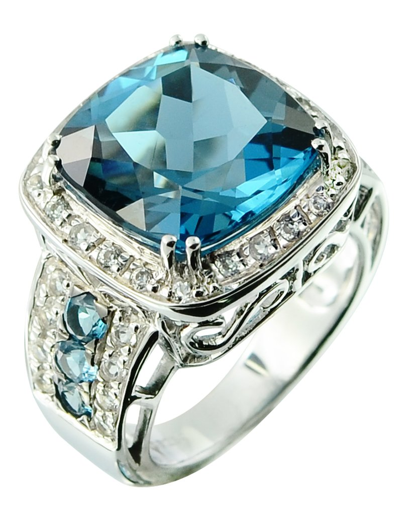 Sterling Silver 925 STATEMENT Ring GENUINE LONDON BLUE TOPAZ 17.75 Carats with RHODIUM-PLATED Finish (8) by RB Gems