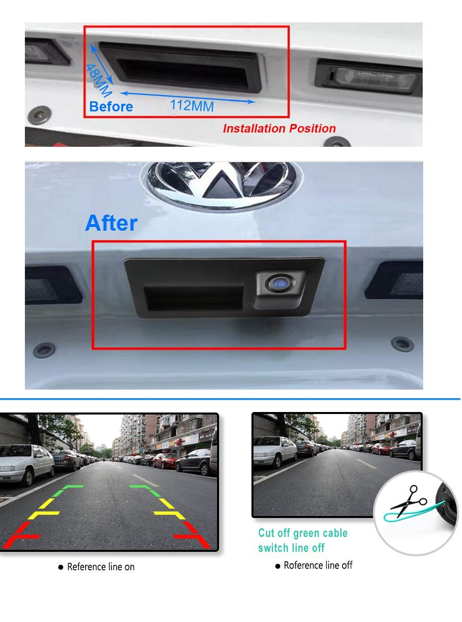 Backup Camera with Tailgate Handle for Universal Monitors RCA ,Rear View Reverse Parking Camera for Ford Focus 2012 2013 2014 for Focus 2 Focus 3 ST QINGTIAN