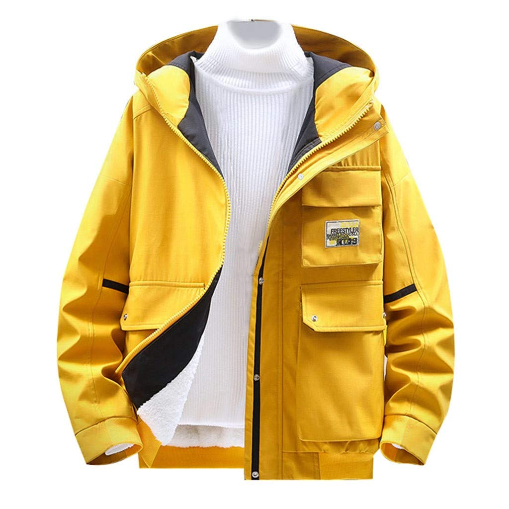 Allywit-Mens Sherpa Fleece Lined Warm Coat Jacket Light Down Cotton Padded Hooded Warm Cardigan Outerwear Yellow by Allywit-Mens