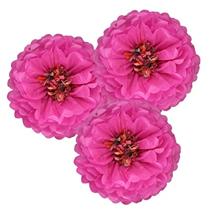 Sunbeauty Pack Of 3 Fuchsia Tissue Paper Chrysanth Flowers Pom Poms Flower Backdrop Centerpiece For Wedding Birthday Baby Shower Party Table Decor