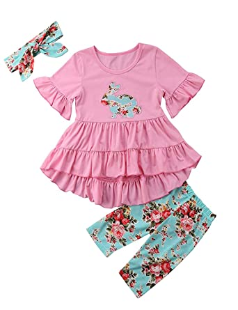 bbc771c369820a Toddler Baby Girl Easter Outfit Ruffle Flare Tunic Dress Floral Leggings  Pants with Headband 3PCS Clothes