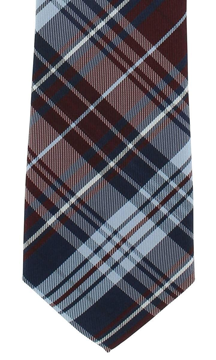 Wine Red Michelsons of London Mens Country Check Tie and Pocket Square Set