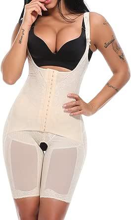 KIWI RATA Women's Open Bust Full Body Shaper Waist Trainer Girdle Mid Thigh Reducer Bodysuit Slimmer Tummy Control Shapewear