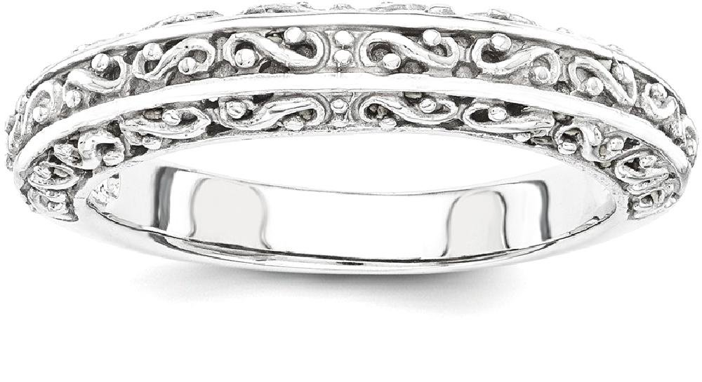 ICE CARATS 14k White Gold Anniversary Wedding Ring Band Size 7.00 Fancy Fine Jewelry Gift Set For Women Heart
