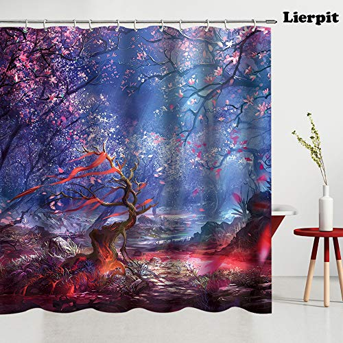Lierpit Watercolor Flower Decor Collection, Wisteria Tree in Blossom Romantic Spring Flowers Over Bokeh Picture Print, Polyester Fabric Bathroom Shower Curtain Set,6970 Inches Long, Peach Aubergine