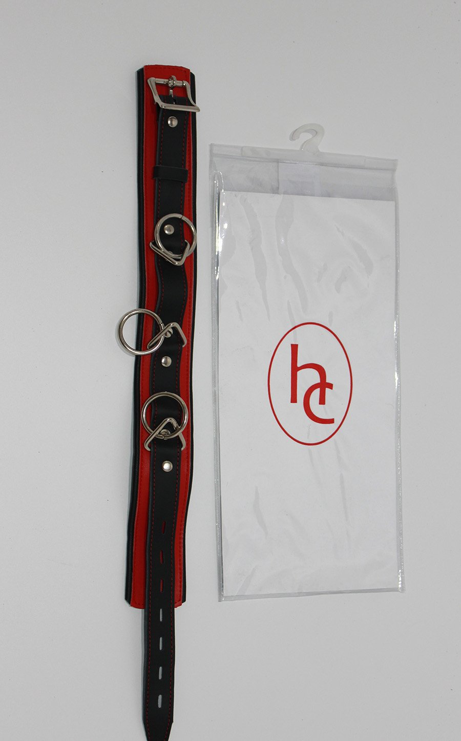 bondageinc Bondage Bondage bondageinc Red and Black Collar with O-Rings 92479c