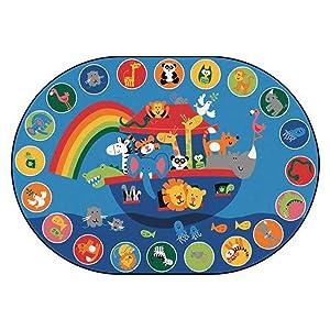 Carpets for Kids 80006 Noah's Voyage Circletime Kid$ Value Plus Rug - 6' x 9' Oval, Blue