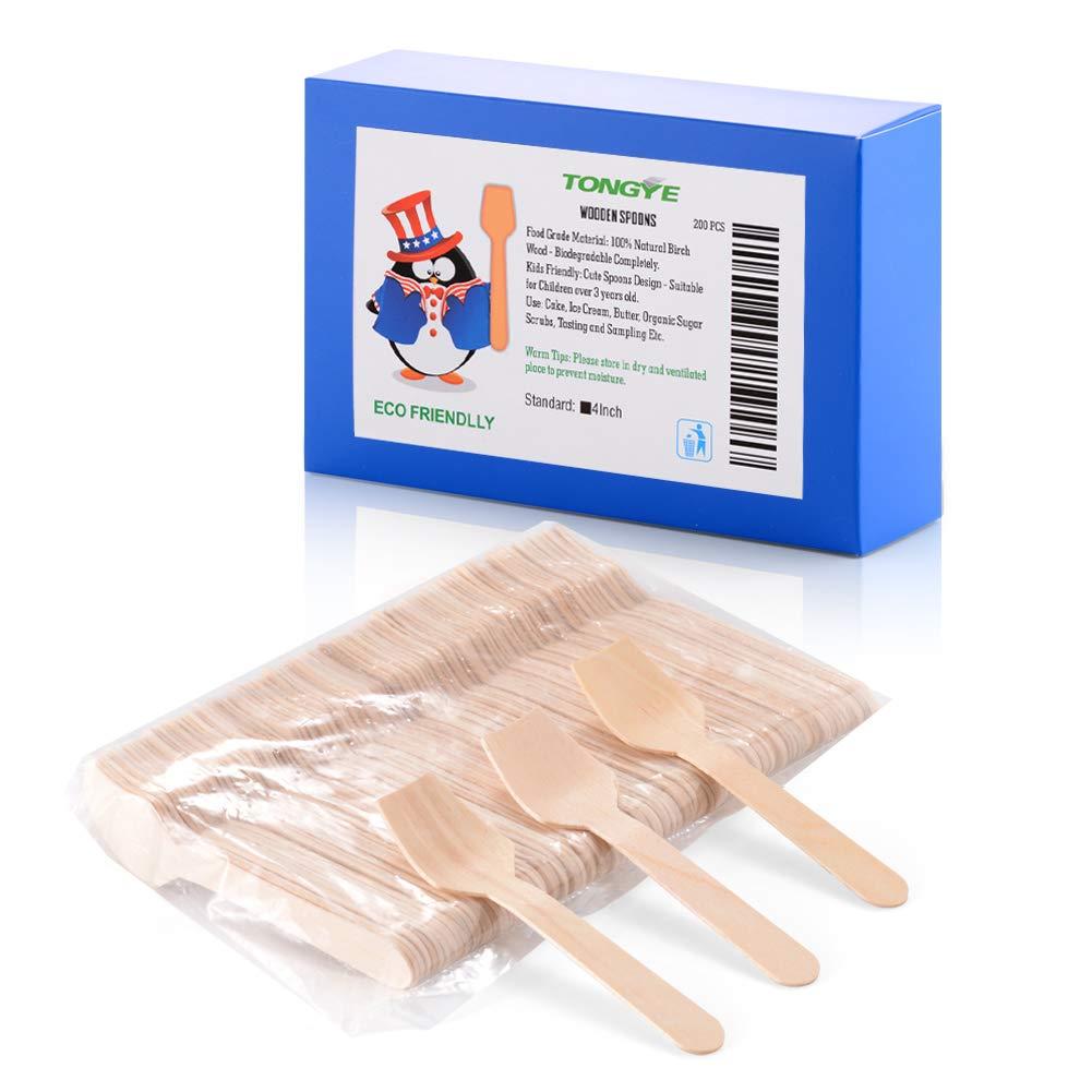 ミニ木製スプーン 4インチ 使い捨てスクエアエンドスプーン 味見とサンプリング ヨーグルトアイスクリームデザートオーガニックシュガースクラブスクープ 堆肥可能な樺材(200個入り)   B07NNLJDHQ