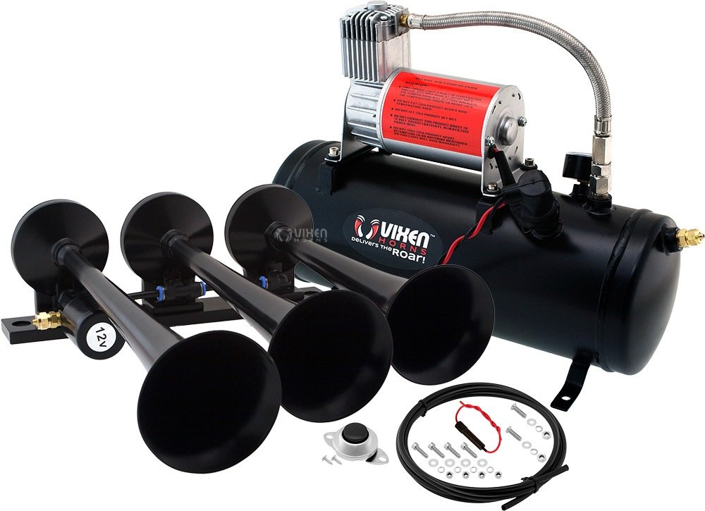 Vixen Horns Loud 149dB 3/Triple Black Trumpet Train Air Horn with 1.5 Gallon Tank and 150 PSI Compressor Full/Complete Onboard System/Kit VXO8530/3118B