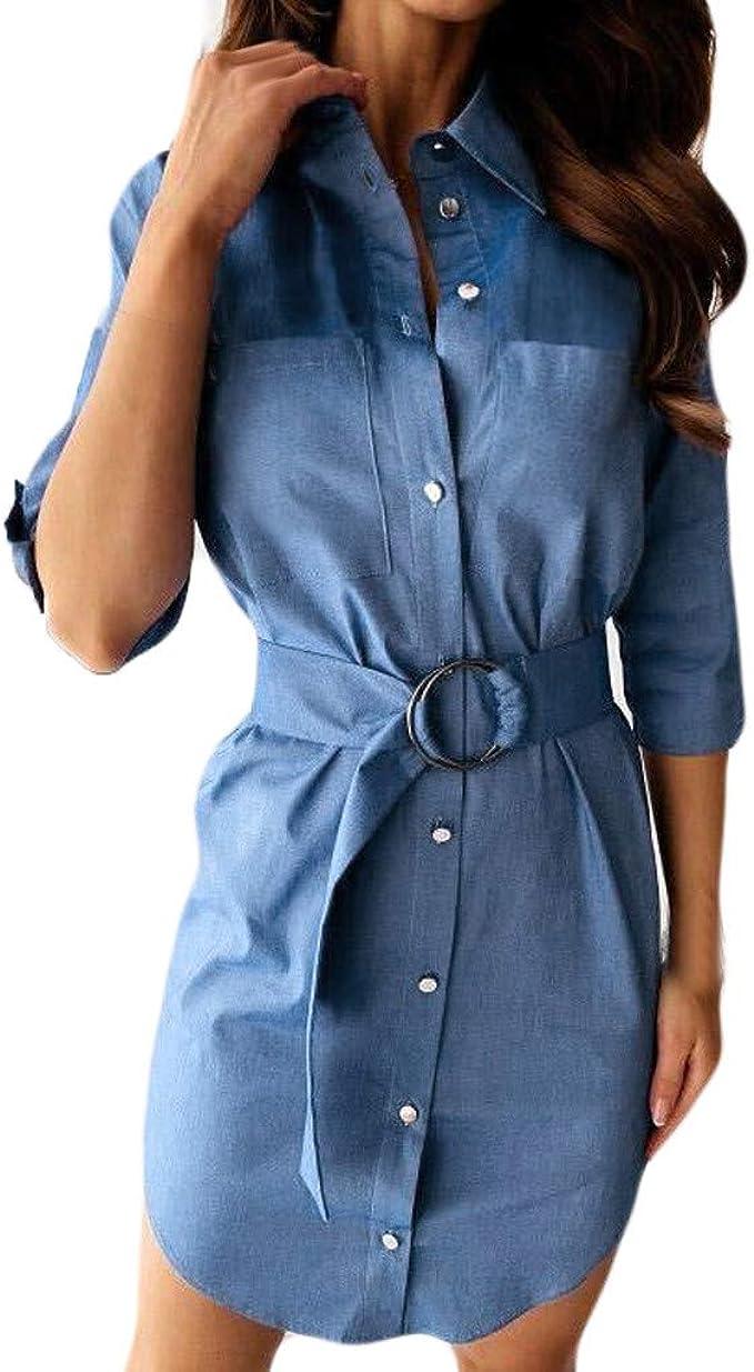 Women Buttons Down Denim Blue Long Shirt Dress Frill Loose Blouse Shirt Tops US
