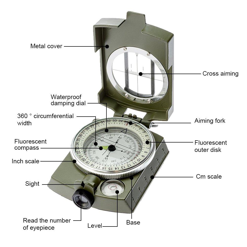 Metal Waterproof Compass,Camping Compass Fluorescent Pointer Compass Banne Compass Army Green