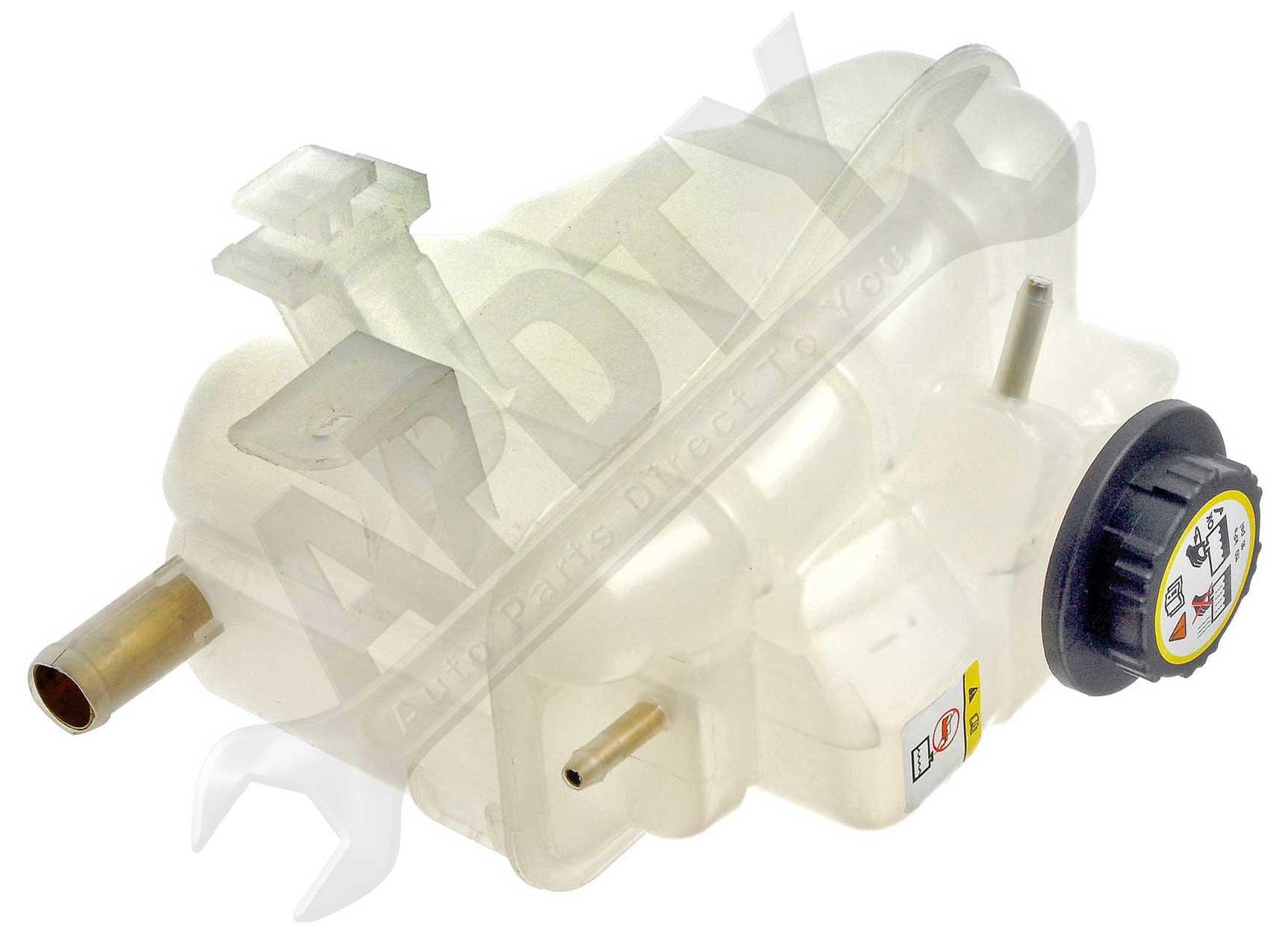 APDTY 714314 Coolant Reservoir Fluid Overflow Bottle Housing & Cap For 00-05 Ford Taurus & Mercury Sable w/ 3.0L OHV Engine; See Description For Details (Replaces 1F1Z 8A080-AA, 9C3Z8101B, F6DZ8100-A)