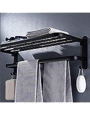 Opvouwbaar 90 °; Handdoekenrek, Zwart Handdoekrek voor Wandmontage, Zwarte Handdoekhouder, Handdoekenrek Met Plank, Ruimte Aluminium Badkamer Handdoekstang, Past In Keuken, Douche 60CM