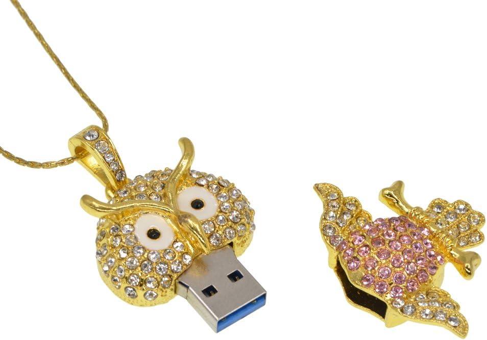 16GO USB 2.0 Clé USB Clef Mémoire Flash Clé USB Hibou Cristal Bling Pendentif