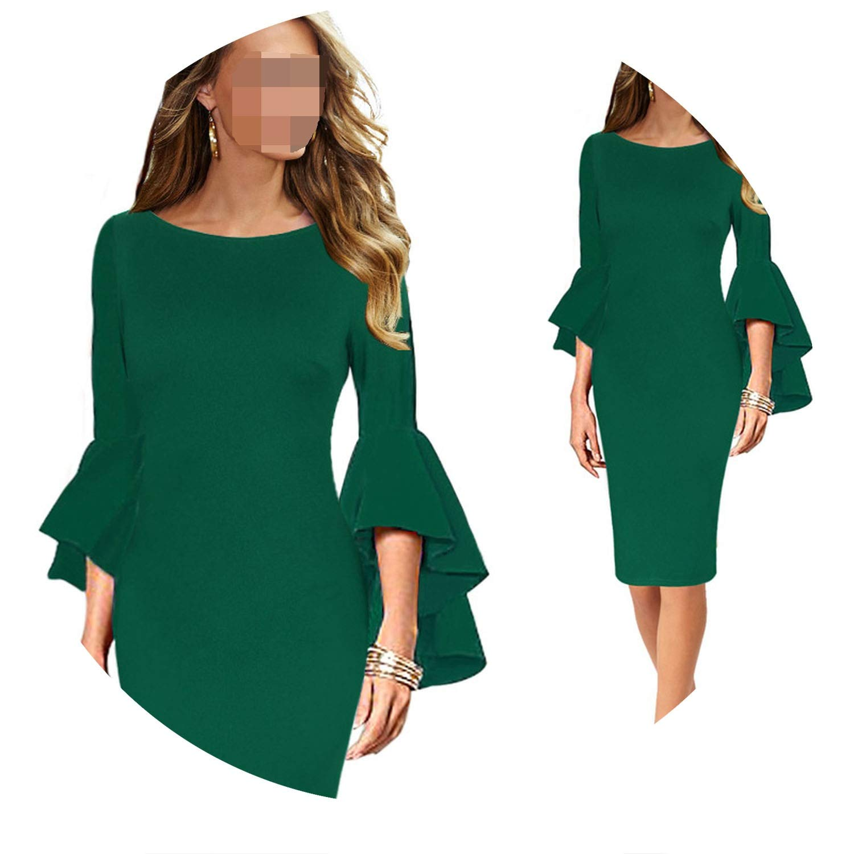 Green 2 Women Autumn Elegant Long Flare Sleeve Fashion Vintage Pencil Dress 1703