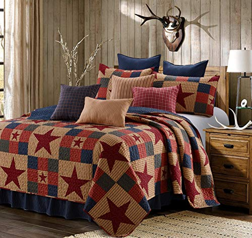 Virah Bella 3 Piece Mountain Cabin Stars Rustic 3 Piece Quilt and Sham Set (Red, ()