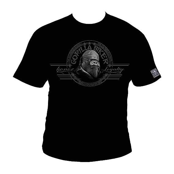 Silberrücken GB40 - Camiseta de Motero para Hombre, diseño de Gorila en Moto Grande - Small - Negro: Amazon.es: Ropa y accesorios