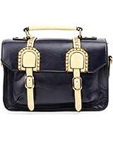 UonBox Women's British Vintage PU Leather Patchwork Satchel Shoulder Hand Bag