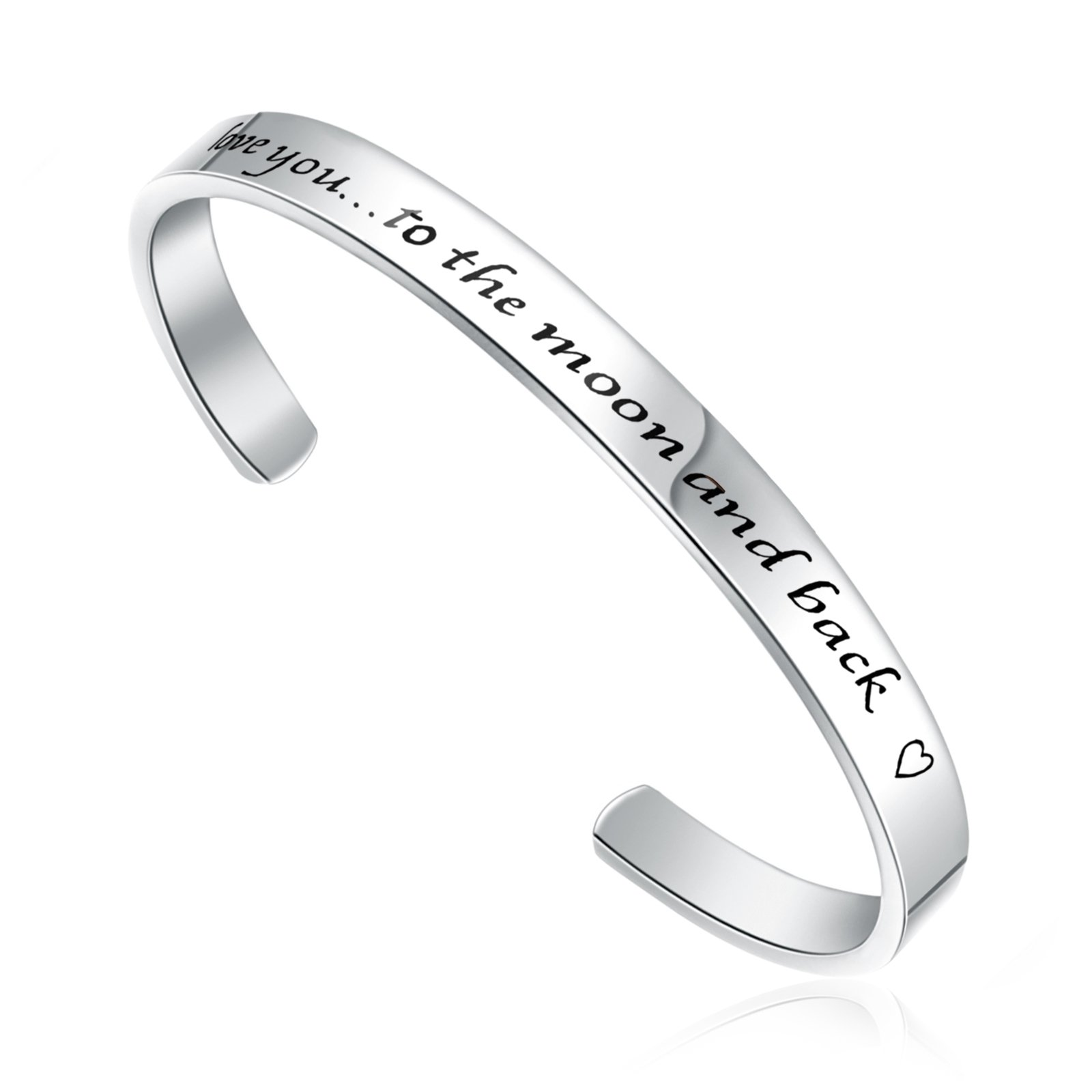 LIUANAN Stainless Steel Bracelet I Love You to The Moon and Back Cuff Bangle for (Cuff Bracelet - Silver) …