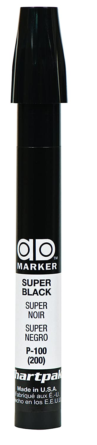 The Original Chartpak AD Marker, Tri-Nib, Super Black, 1 Each (P100)