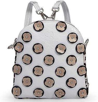Alea Spero, Bolso mochila de piel para mujer, Dasha New York, Fabricado en España (Blanco): Amazon.es: Zapatos y complementos