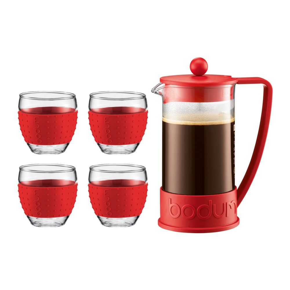 Bodum Brazil French Press 34-Ounce Coffee Maker with Set of 4 12-Ounce Pavina Glasses (Red) K11185-294
