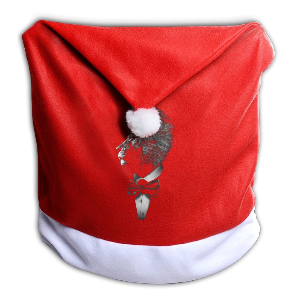 YHOLY_1 Cool Mr.Lion Gentle Lion Wild Animal Christmas Dining Chair Back Cover Slipcovers Decoration