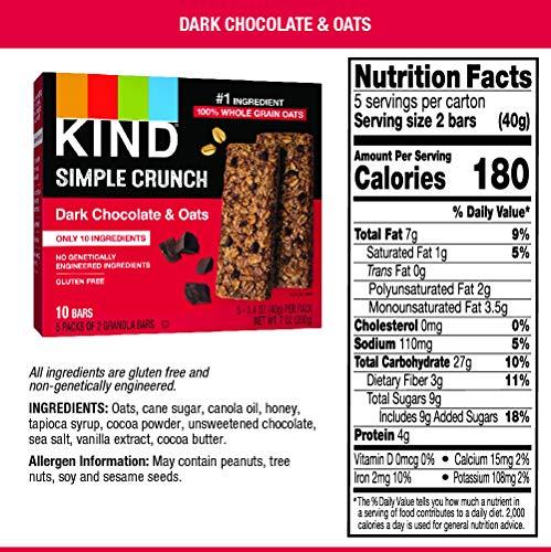 KIND Simple Crunch Bars, Dark Chocolate & Oats, Gluten Free, Low Sugar, 40 Packs of 2-0.7Oz Bars