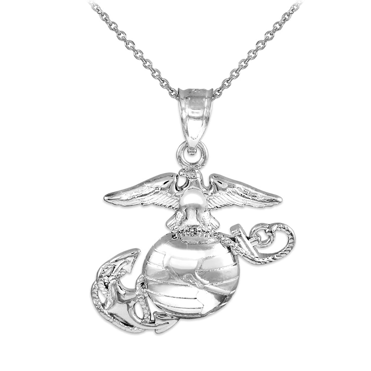 925 Sterling Silver Medium Patriot Charm US Marine Corps Military Pendant Necklace