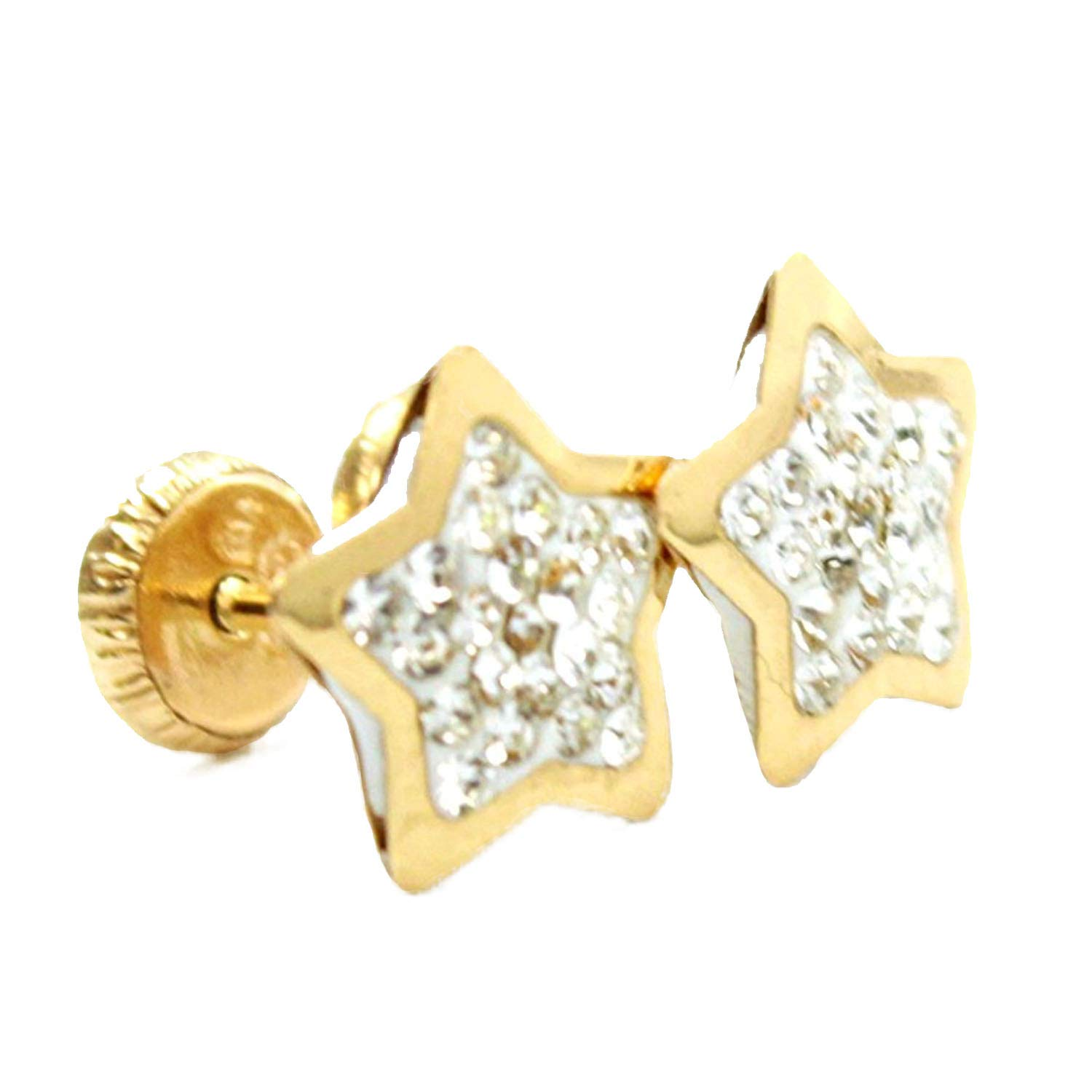 14k Yellow Gold Star Design Stud Earrings with Stones 2mm