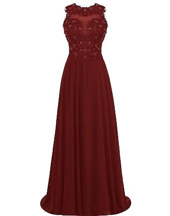 Carnivalprom Damen Abendkleider Lang Elegant Perlstickerei Ballkleider  Applikationen Partykleider(Burgund,32)