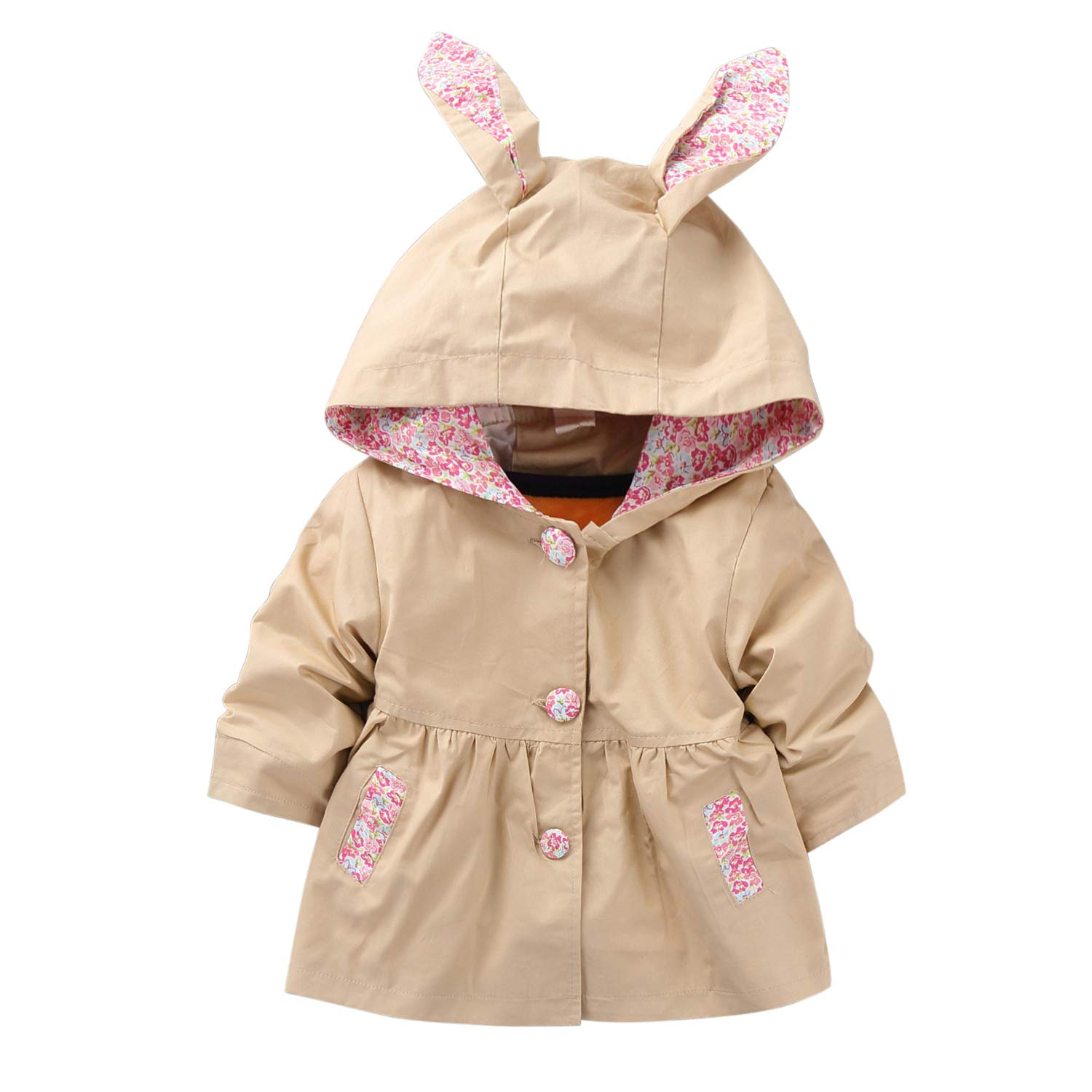Evelin LEE Kids Girls Cute Spring Fall Outwear Jacket Hooded Windbreaker Trench Coat 05BFA0411-CA-ZL