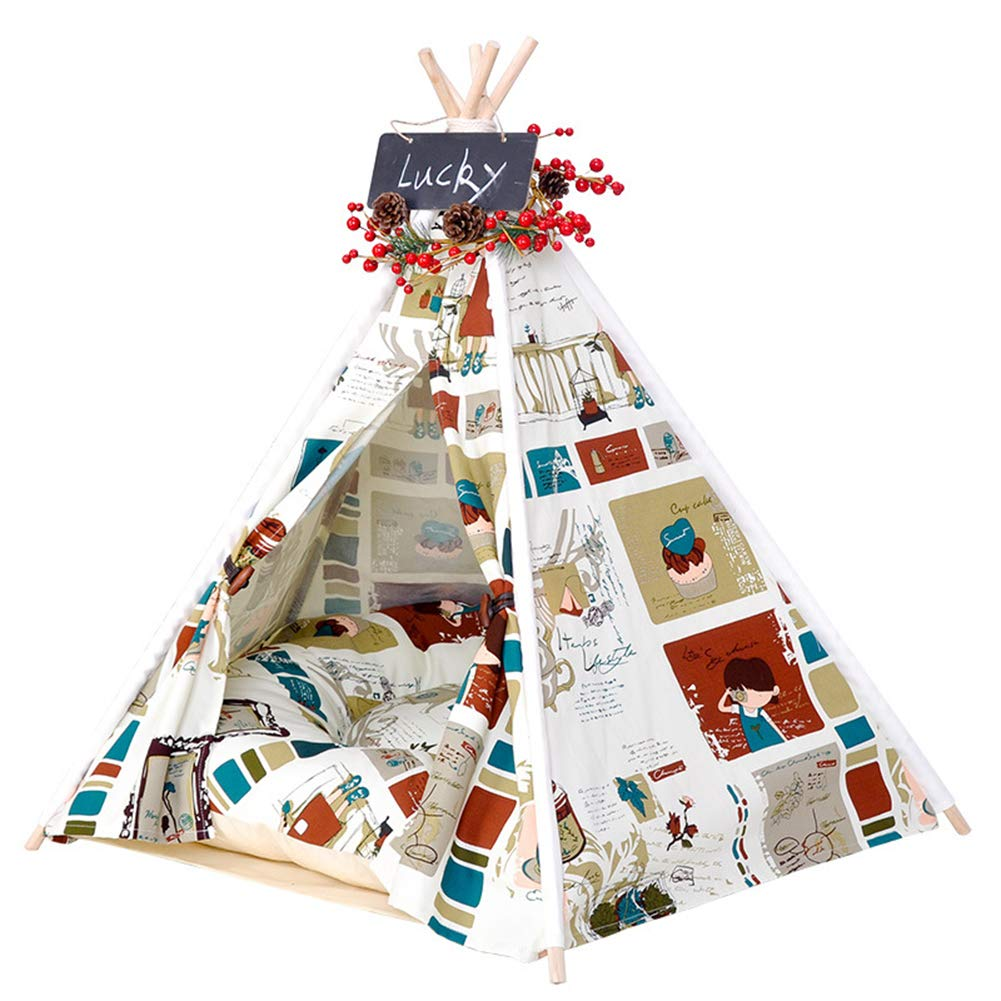 L Rockingtail Pet Teepee Portable Dog and Cat Tents Comfortable Cotton Non-Slip Washable Durable Tough Canvas Cartoon Pattern