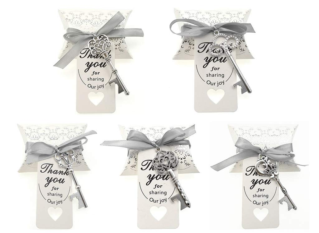Kinteshun Wedding Party Favor Set,Skeleton Key Bottle Openers Candy Boxes Escort Tags and Ribbon Souvenir Gift Set(Silver Tone,50 sets with 5 Styles) by Kinteshun