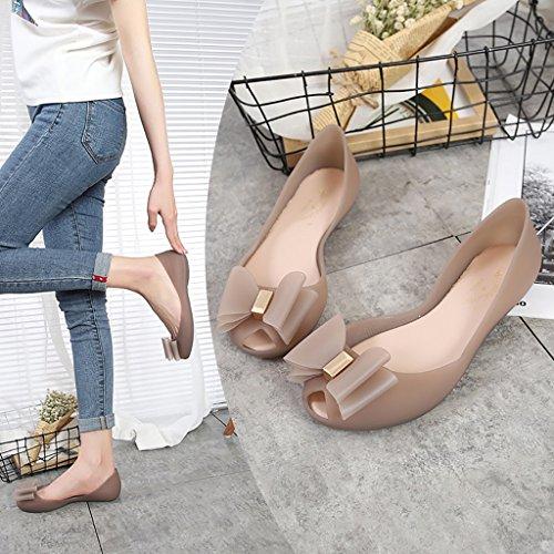 Wasser Schuhe Bogen Gelee Anti frauen Braun Flach Skid Stiefel Schuhe Damen QYQpdx regen Flache Casual Wasserdichte fTBOwxf